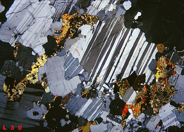 thin section of a labradorite sample from madagascar the section is ...